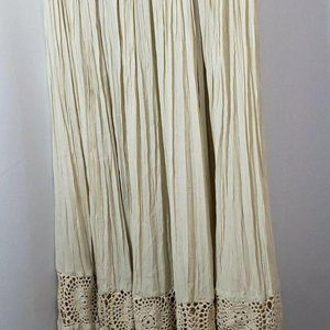 Womens Maxi Pleated Skirt Crocheted Band Above Hem